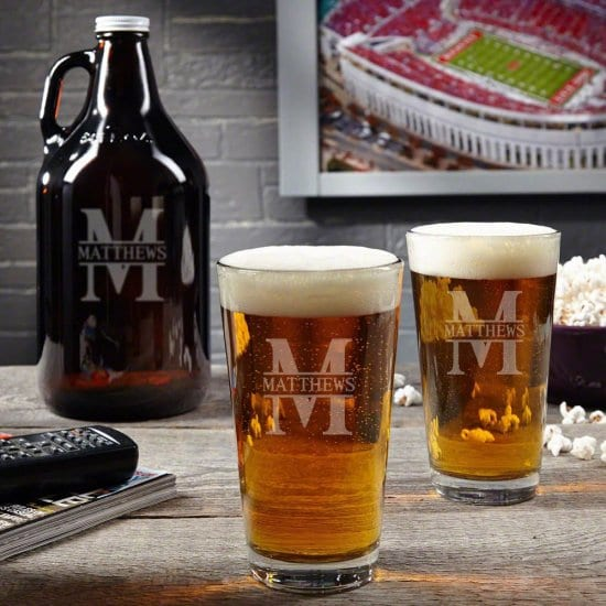 Engraved Beer Growler and Matching Pint Glasses