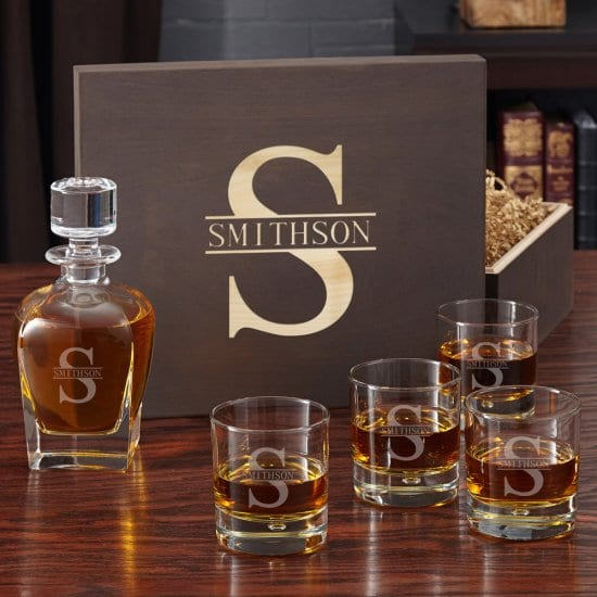 Engraved Decanter Box Set 5th Anniversary Gift