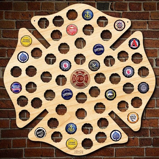Maltese Cross Bottle Cap Collector Map for Firefighters