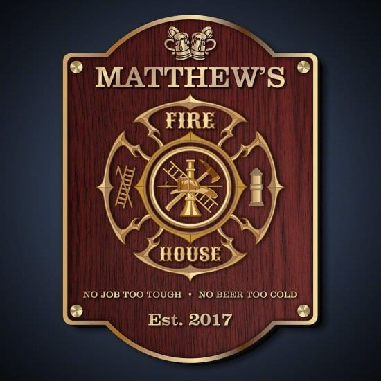 Personalized Bar Sign for Firefighters