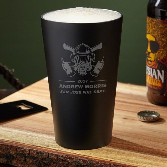 Custom Beer Glass - Personalized Fireman Gift