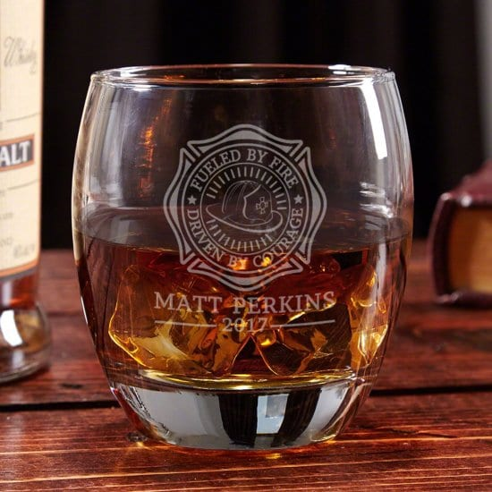 Fueled by Fire Firefighter Whiskey Glass