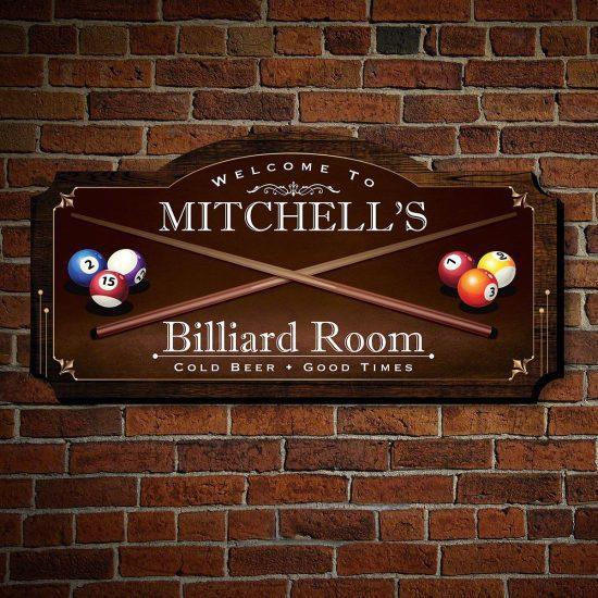Custom Billiard Sign is a 5th Anniversary Gift