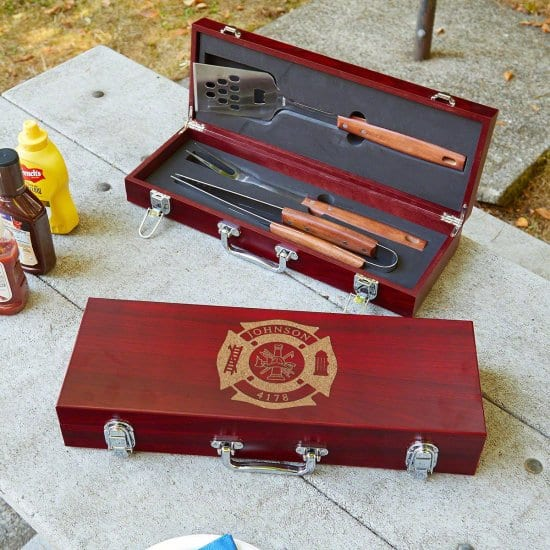 Personalized Grill Set - Gift for Retired Firefighters