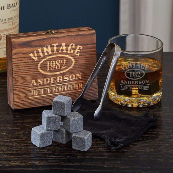 Custom Whiskey Stones Gift Set