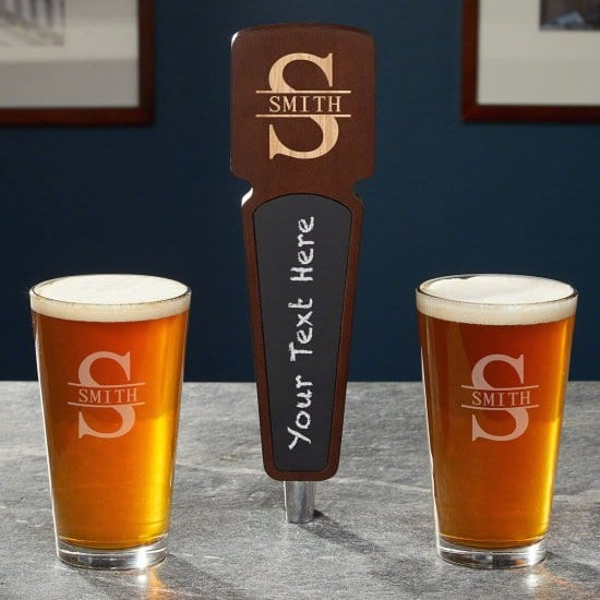 Engraved Keg Tap Handle with Pint Glasses