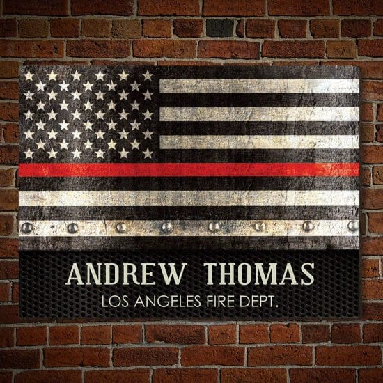Custom Thin Red Line American Flag Wooden Sign