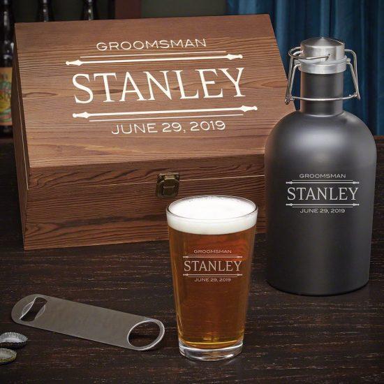 Custom Beer Growler Gift Set with Bottle Opener
