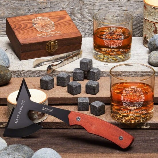 Personalized Whiskey Gift for Firefighters with Hatchet