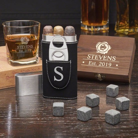 Engraved Whiskey and Cigar Set