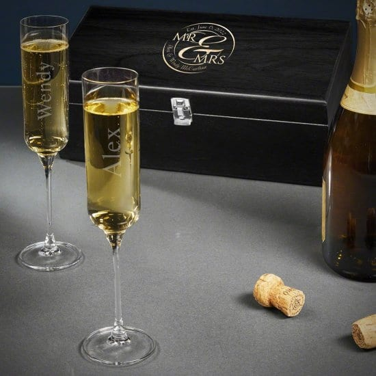 Personalized Wedding Glasses Champagne Box Set