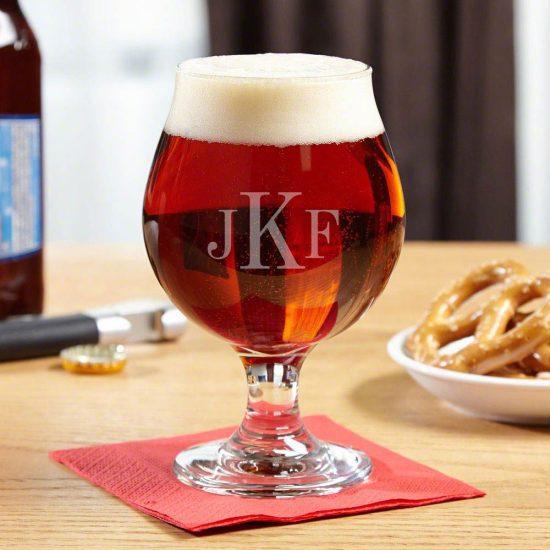 Monogrammed Beer Snifter Glass for Guys