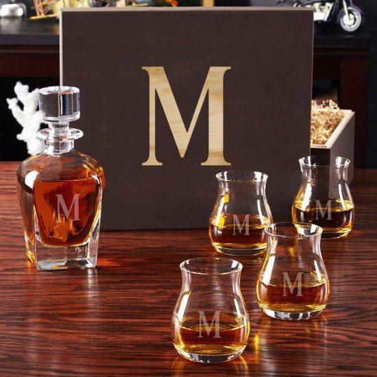 Whiskey Decanter Set with Glencairn Glasses