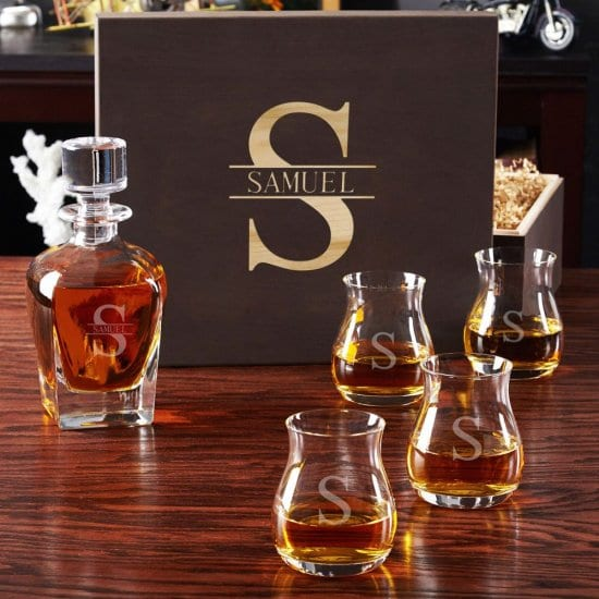 Personalized Whiskey Decanter Box Set with Glencairn Glasses