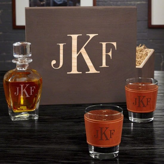 Whiskey Box Set with Leather Koozies