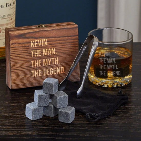 Personalized Whiskey Stone and Glass Set for Him