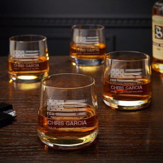 Four Engraved Whiskey Glasses for Soldiers
