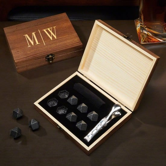 Monogrammed Diamond Whiskey Stones