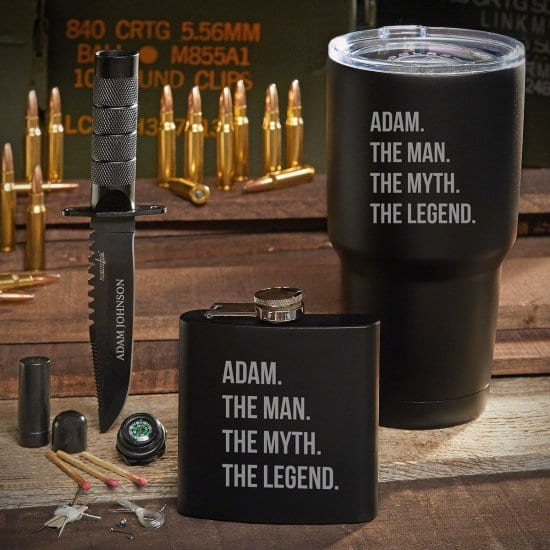 Personalized Travel Tumbler with Flask and Survival Knife