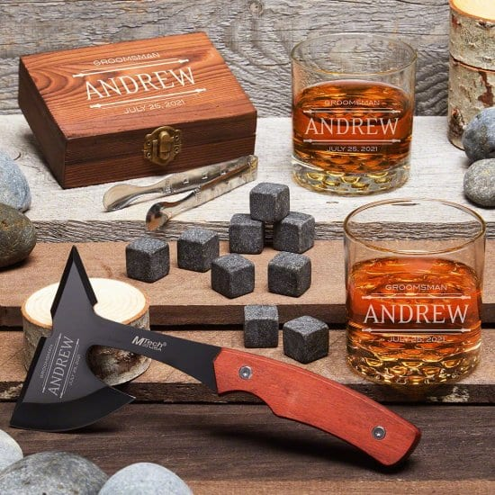 Custom Whiskey Glasses Gift Set with Hatchet for Brother-in-Law
