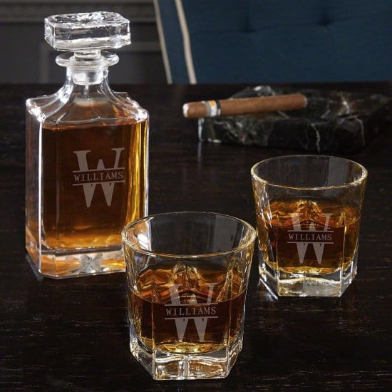 Egraved Crystal Whiskey Decanter and Glasses