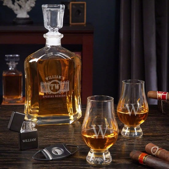 Personalized Whiskey Decanter Set with Cigar Accessories