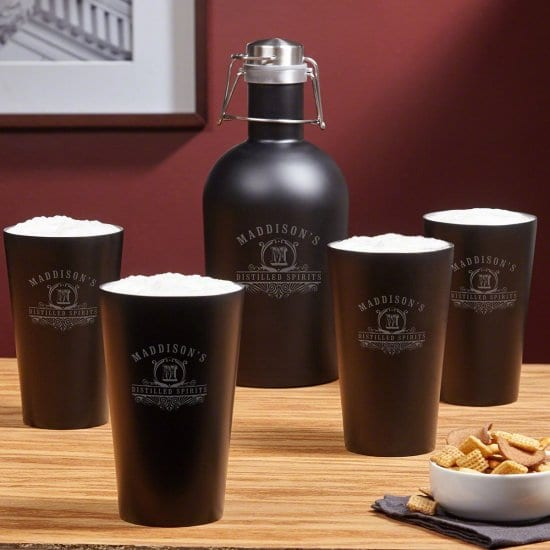 Personalized Stainless Steel Growler and Pint Glasses