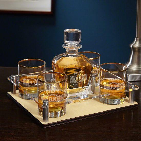 Gold Rim Whiskey Serving Tray Set