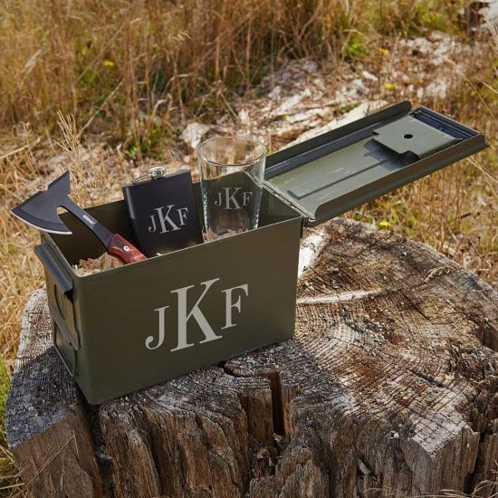 Monogrammed Beer Ammo Can Set with Hatchet