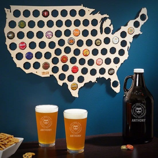 Beer Cap Map, Pint Glasses, & Growler for Bearded College Students