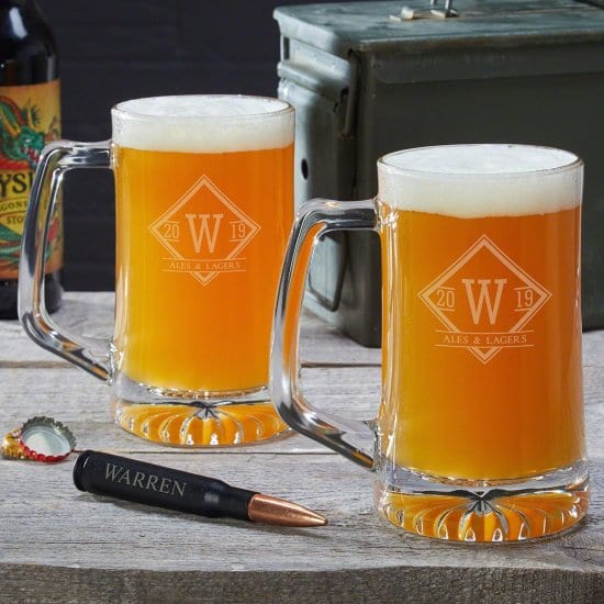 Set of Two Personalized Beer Mugs and Bullet Bottle Opener