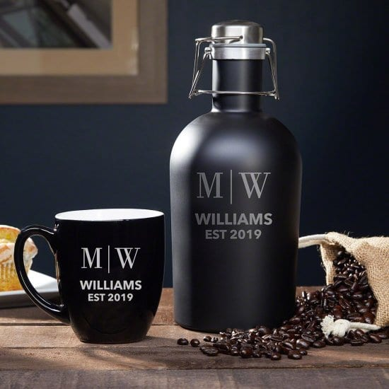 Custom Coffee Stainless-Steel Coffee Carafe & Ceramic Mug