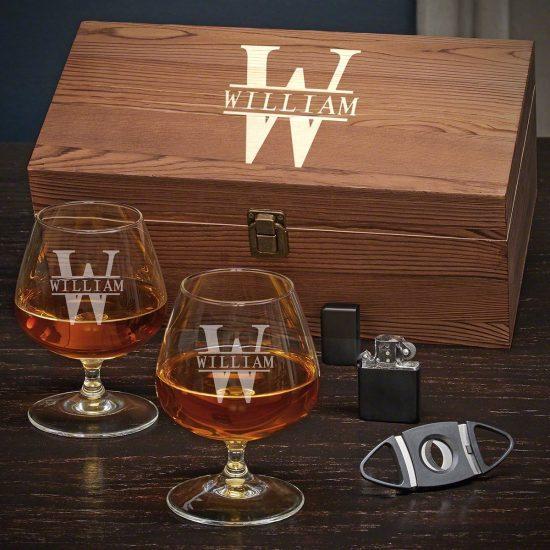 Cognac Box Set with Glasses, Lighter, & Cigar Cutter