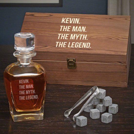 Whiskey Decanter Box Set with Whiskey Stones