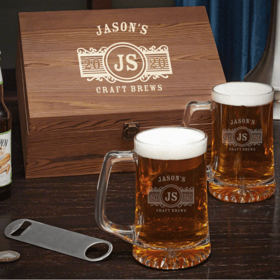 Engraved Beer Mugs with Box and Bottle Opener