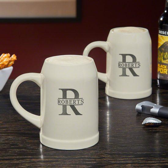 Set of Two Ceramic Beer Steins