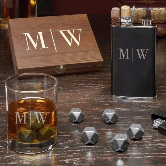 Personalized Whiskey Gift Set with Cigar Flask
