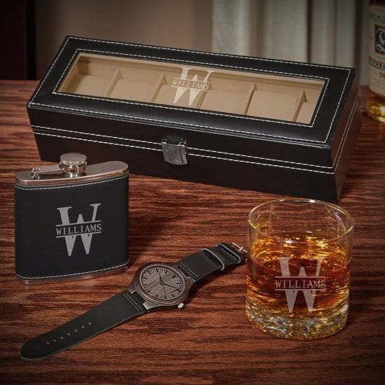 Engraved Watch and Whiskey Gift Sets for Men