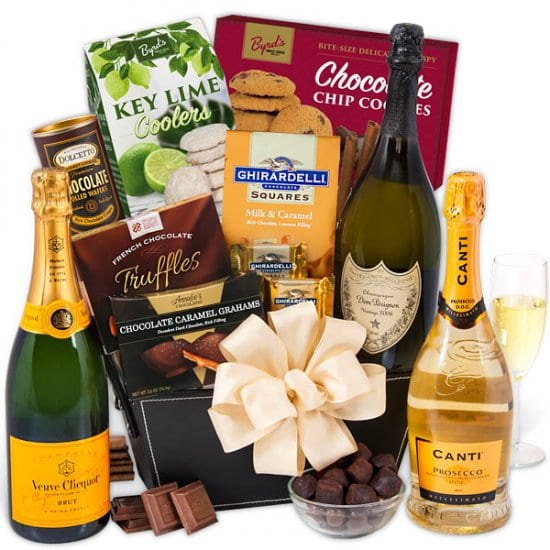 Champagne and Chocolate Christmas Gift Basket for Two