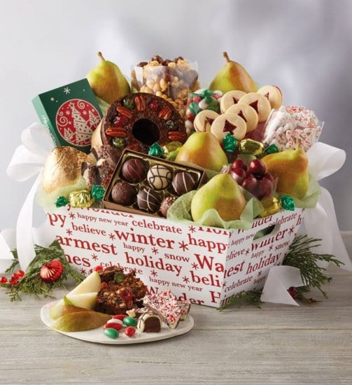 Christmas Gift Basket with Sweets and Treats