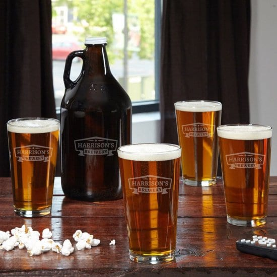Personalized Glass Growler with Four Matching Pint Glasses
