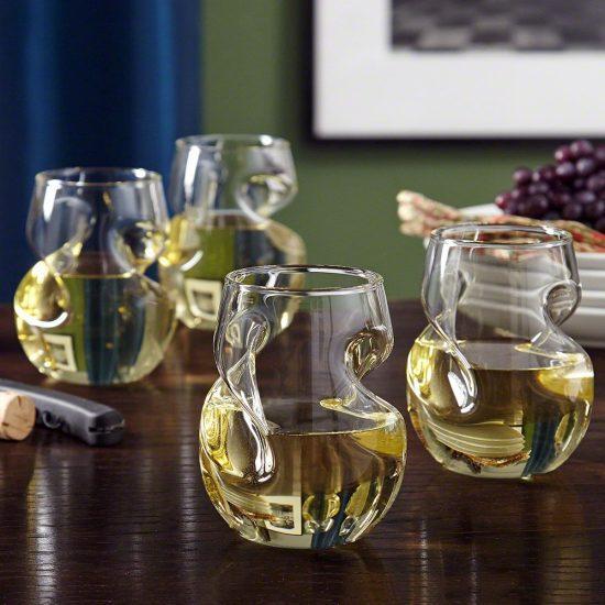Set of Four Unique Aerating Wine Glasses