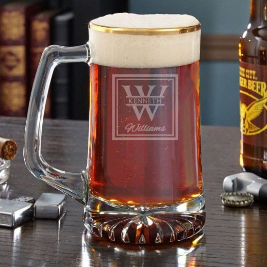 Large Personalized Gold Rimmed Beer Mug for Him on Valentine's Day