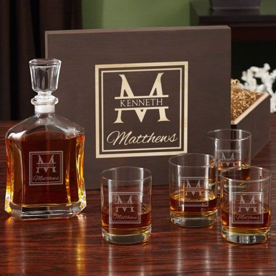 Decanter and Glasses Box Set of Personalized Gifts for Men