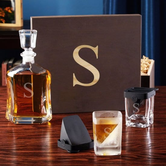 Personalized Whiskey Decanter Set with Ice Molds
