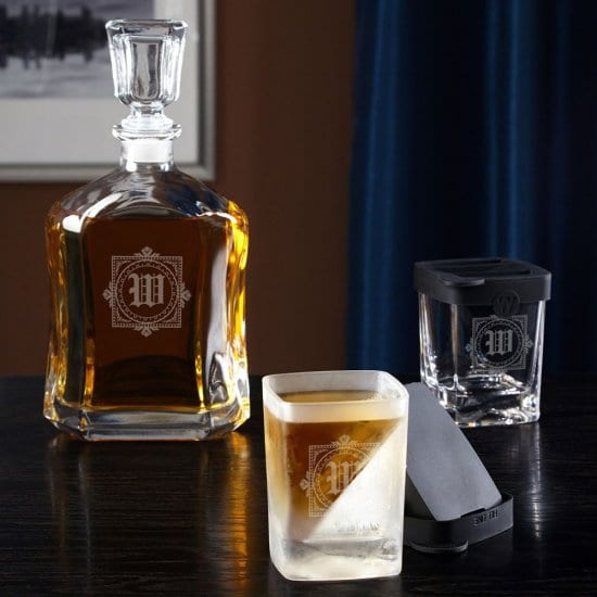 Engraved Whiskey Decanter and Two Rocks Glasses with Ice Molds