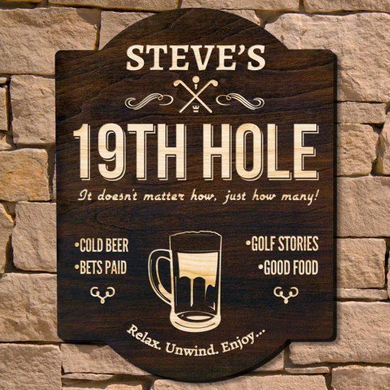 19th Hole Custom Wood Sign