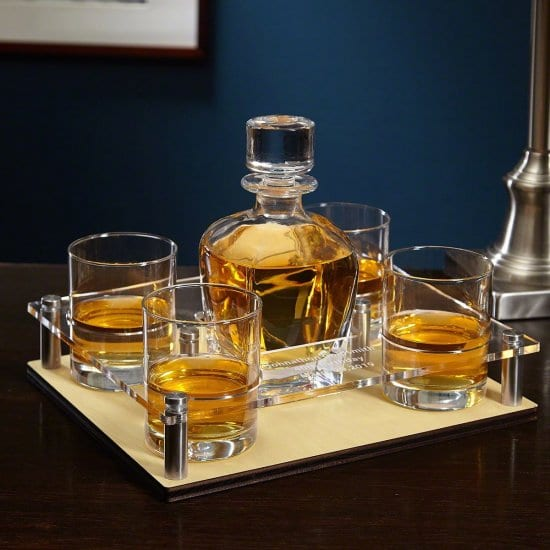 Whiskey Decanter Set with Engraved Serving Tray