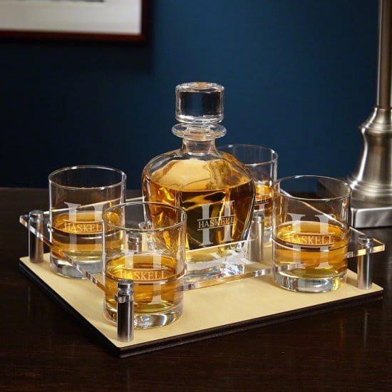 Personalized Whiskey Glass Set with Decanter and Serving Tray