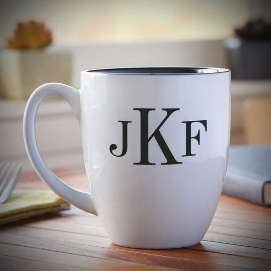 White Monogrammed Mug Coffee Gift Idea